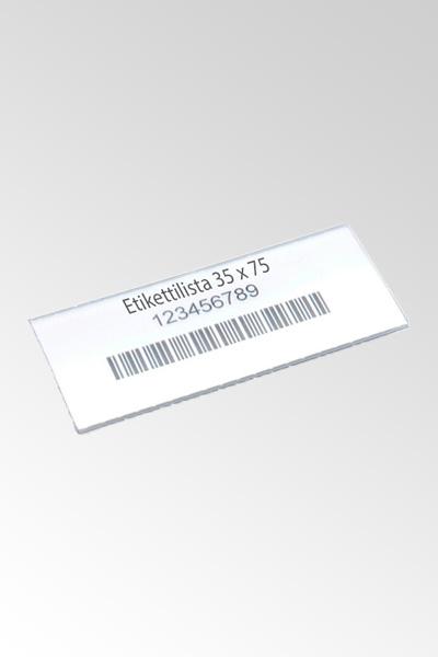 Etikettipidike + etiketti 30 x 75 (100kpl/pss)