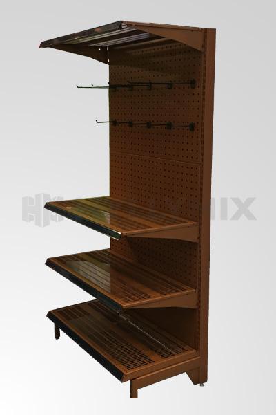 Käytetty myymälähylly paketti, Corteen Steel värillä, kokonaisleveys 8130mm.